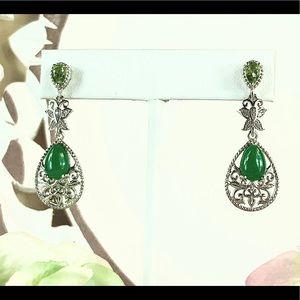Burmese Green Jade & Peridot 925 SS Earrings